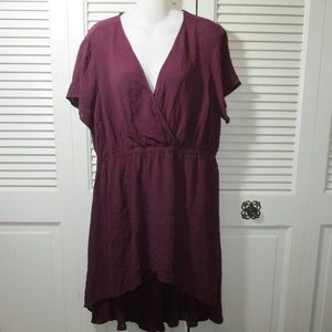 torrid Tops - NWT Torrid Wine Color Babydoll Hi-Low Tunic Top 0